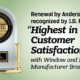 Highest in Customer Satisfaction with Window and Patio Door Manufacturing Brands